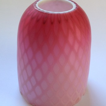 Victorian diamond quilted satin glass fairy lamp dome - Art Glass