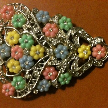 Floral Dress Clip - Costume Jewelry