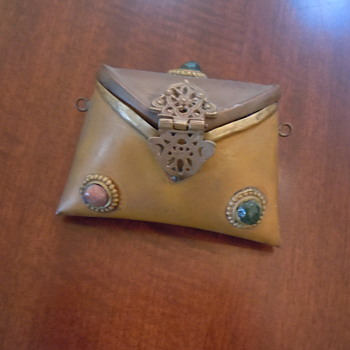 Small Brass and copper bag with stones...HELP????