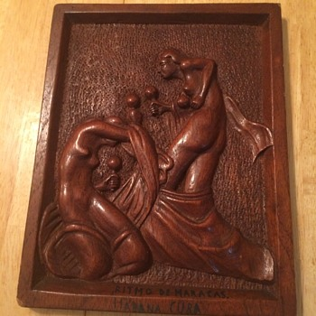 Vintage Carved Wooden Plaque from Cuba - Visual Art