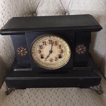 New Haven Clock Company Circa 1890 Black Mantle Clock