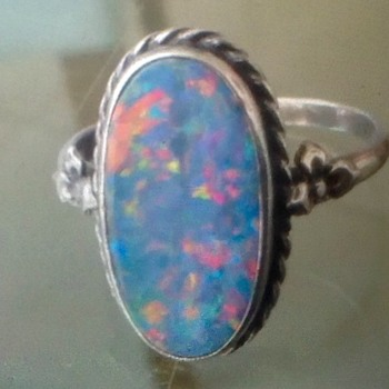 Silver Opal Ring - Art Deco