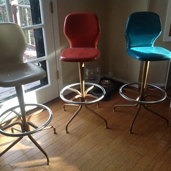 Chromcraft fiberglass stools and vintage bar