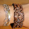Vintage Deco Copper Intricate Panel Bracelet Huge!  
