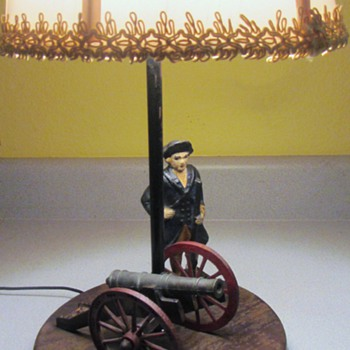 COLD PAINTED CAST IRON COLONIAL SCENE LAMP