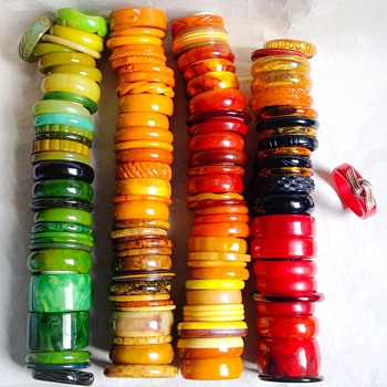 Updated Bakelite bangle collection - Costume Jewelry