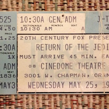 Opening day, first showing, Return of the Jedi, ticket stub - Paper