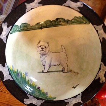 Adorable Ceramic Bowl with West Highland Terrier Motif - Art Pottery