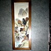 Framed Painting on Silk Panel / Mountain Landscape with Figure / Unknown Artist / Circa 1950's-60's