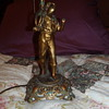 Vintage table lamp brass pewter ? Boy holding bugle