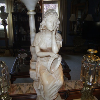 Art Deco Carved Alabaster Figural Lamp
