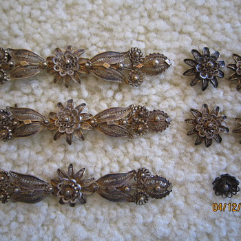 Antique Silver Gold Filigree Jewelry Decorative Pieces