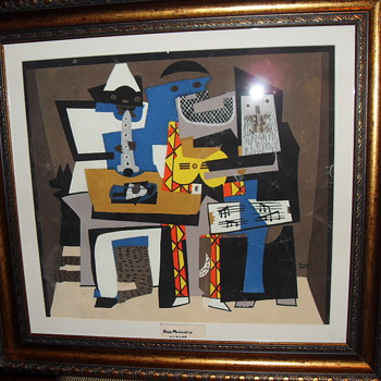 ABSTRACT PICASSO OF FIGURES PLAYING MUSIC LITHOGRAPH