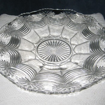 swags and star clear glass platter