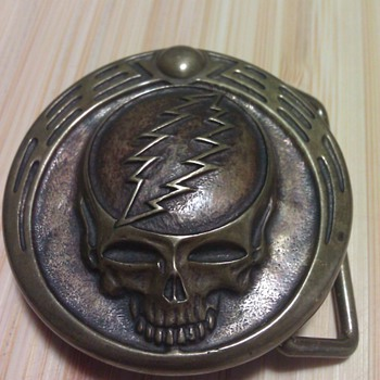 Owsley Stanley signed #3 Grateful Dead Skull Belt Buckle