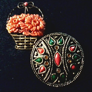 Sterling and Celluloid Flower Basket Brooch / Emmons Pendant Brooch /Circa 20th Century