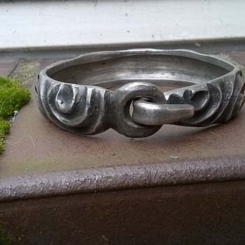 Pewter Bangle Bracelet- Unusual Design - No Marks - Costume Jewelry