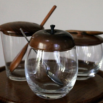 Japanese glass and wood condiment jars
