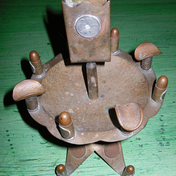 Trench Art Ashtray with Match Box Holder - Folk Art