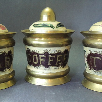Brass &amp; Enamel Coffe, Tea, Sugar Canisters - Kitchen