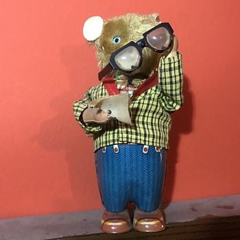 1950s Vintage Windup Eyeglass Cleaning Bear