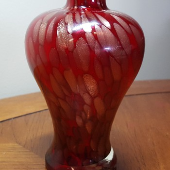 Red Art Glass Bottle - Art Glass