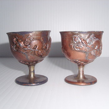 CHINESE OR JAPAN COPPER DRAGON SMALL CUPS ?? - Asian