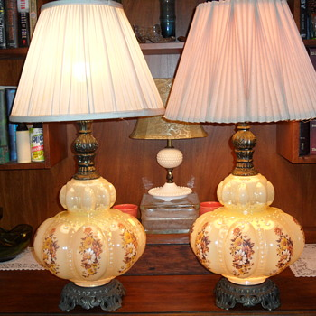 Falkenstein Bubble Beaded Regency Style Lamps Pair ~ Vintage