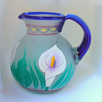 Pitcher with Cobalt Handle/Rim and Lily's - Glassware