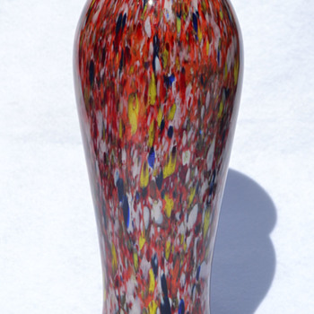 Red, white, blue, and yellow spatter - Czech - Art Glass