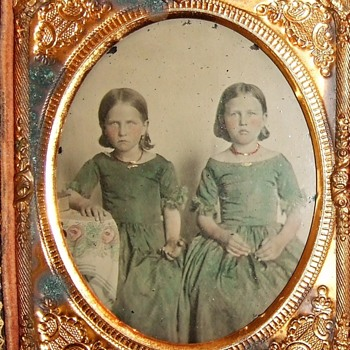Ambrotype of young girls in green dresses and coral necklaces - Photographs