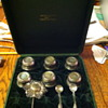 antique tea strainer and sugar bowl with spoons in box