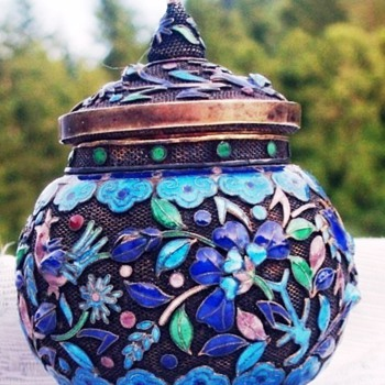cloisonne enamel on woven wire -tiny pot and lid - Asian