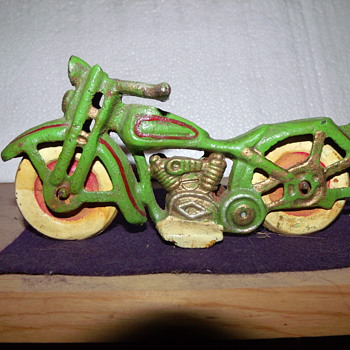 Cast Iron Motorcycle with Mickey & Minnie