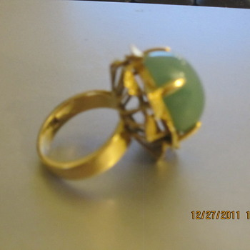 Grandmothers Beautiful Jade Ring with Gold leaf details