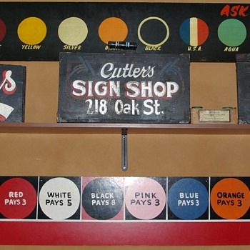 Sign painter's tools of the trade--walking signs