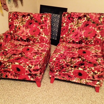 Vintage/Bohemian Floral Red Velvet Chairs - Furniture