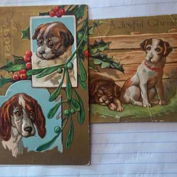 Christmas Postcards,Vintage unsent, FEATURE DOGS - Christmas