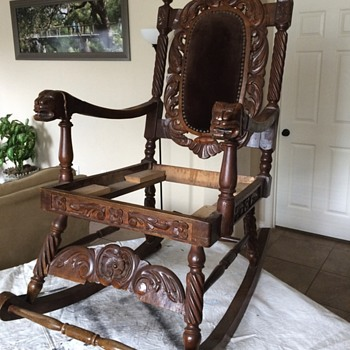 Antique Hand Carved ornate Rocking Chair - Furniture