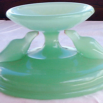 Jadeite Green Glass Pedastal with Seals - Art Glass