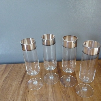 Antique, Vintage Silver Trimmed Cordial or ??? Glasses