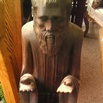 Hand carved wooden monk