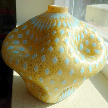 Funky Week continues....Unusual heavy worked glass perfume.  - Art Glass