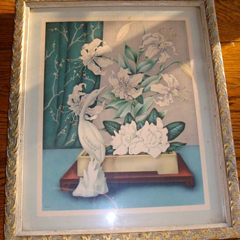 Very Old Magnolia &quot;Art Deco&quot; Water Colors 1920&#039;s By Goes