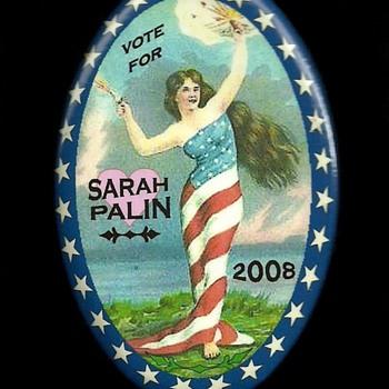 4 Sarah Palin Political Pinback Button's - Medals Pins and Badges