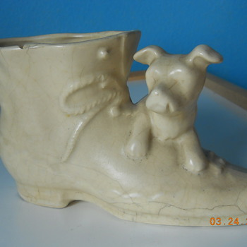 Antique boot planter with dog - unknown maker - Art Pottery