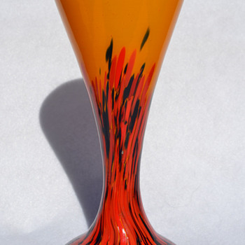 Czech spatter on orange vase