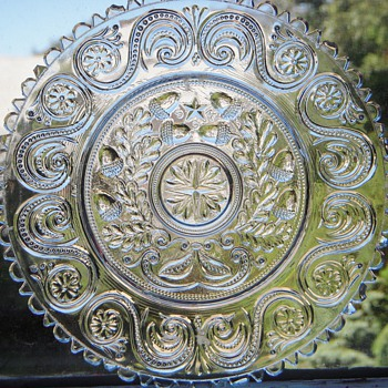 Antique EAPG Glass Plate w/Initials 'S G M'~Acorn Design~Sandwich!? - Glassware