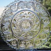 Antique EAPG Glass Plate w/Initials 'S G M'~Acorn Design~Sandwich!?