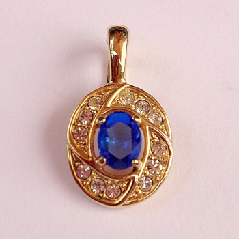 Royal Blue and Gold Snap On Pendant